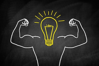 Light bulb drawn in yellow with muscular arms