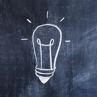 Light bulb drawn with chalk on chalkboard