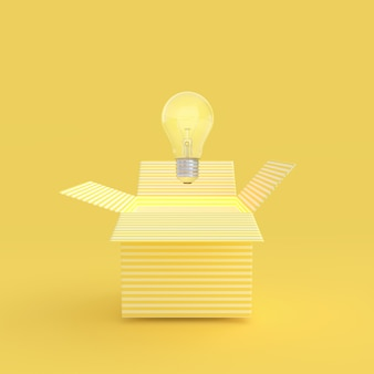 The light bulb drifted out of the gift box yellow color