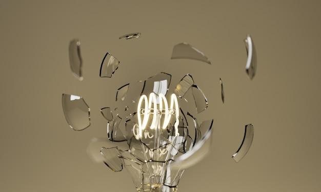 フィラメントが照らされた状態で電球が爆発する