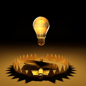 The light bulb floated on the trap with clipping path.