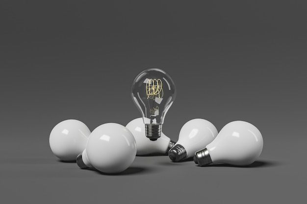 Light bulb floating around white light bulbs. minimal concept idea, stand out and succeed. 3d rendering