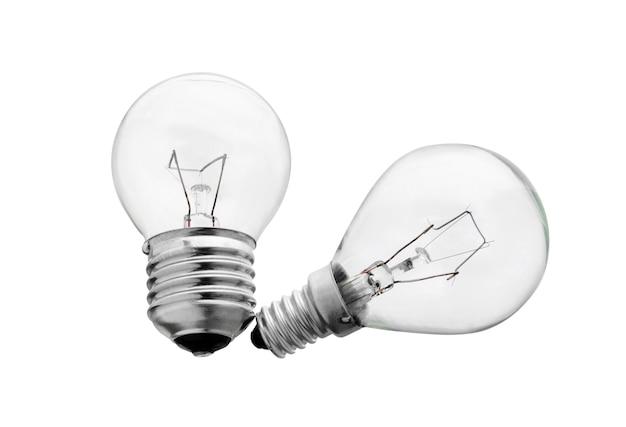 白い表面に分離された電球グローランプ