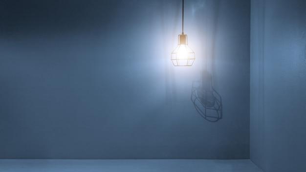 コンクリートの壁と空のテーブルにぶら下がっている電球。製品またはデザインの表示またはモンタージュの背景をモックアップします。