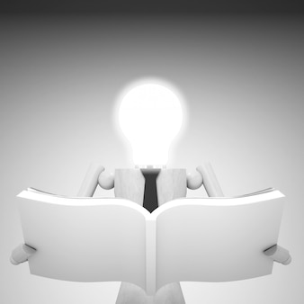 The light bulb head doll with book 3d illustration