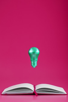 Light bulb hovers over the open pages of an empty notebook on a pink background