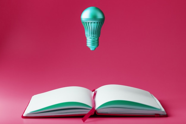 The light bulb hovers over the open pages of an empty notebook on pink.