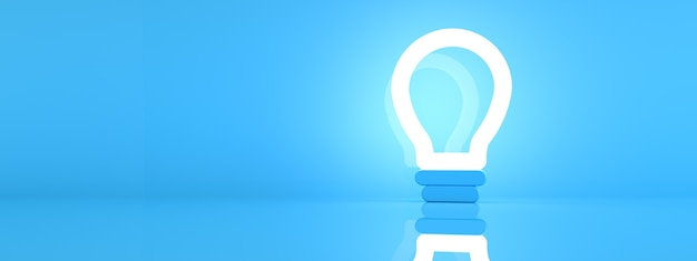 Light bulb icon over blue background, 3d render, panoramic mock-up with space for text
