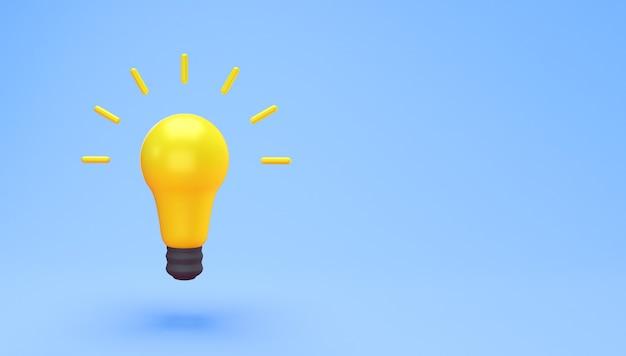 電球のアイデアの創造的なコンセプト。テキストのコピースペースで青い背景に分離された黄色の電球の最小限の概念のアイデア。 3dレンダリング。