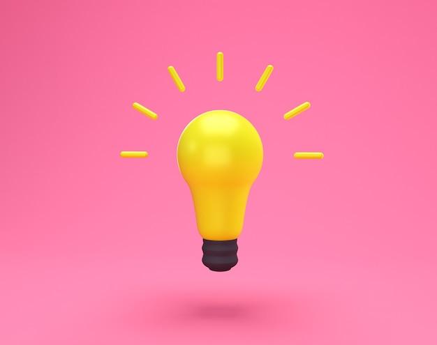 Творческая концепция идеи лампочки. минимальная идея концепции желтой лампочки, изолированной на розовом фоне с копией пространства для текста. 3d-рендеринг.