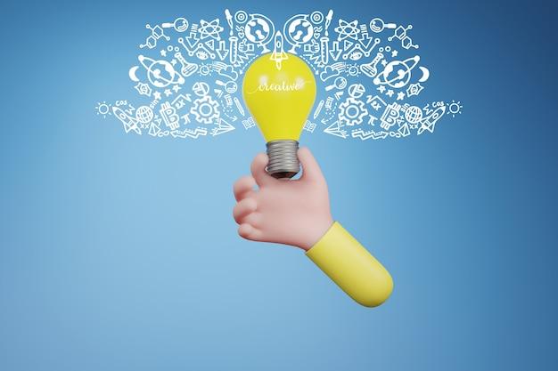 手に電球と落書きアイコン。創造的なアイデアとイノベーションの概念、3dイラスト