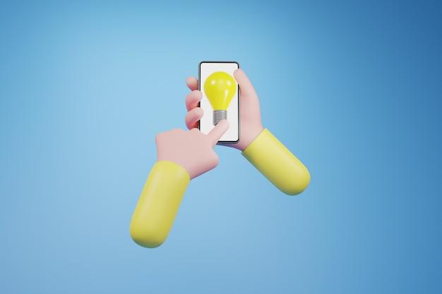 手に電球。創造的なアイデアとイノベーションの概念、3dイラスト