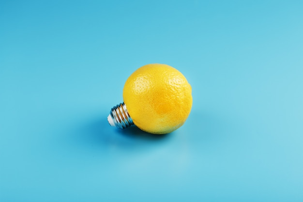 The light bulb is like a lemon on blue