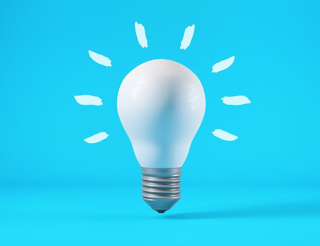 Light bulb isolated from blue background, idea concept