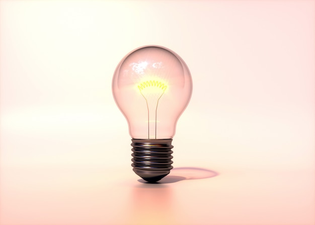Light bulb isolated on soft and warm