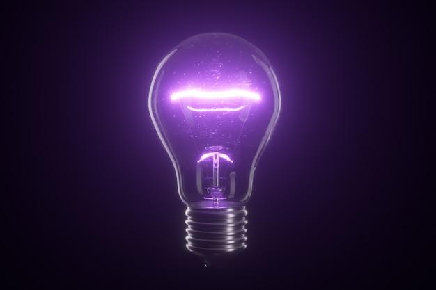 孤立した黒地に電球ランプ