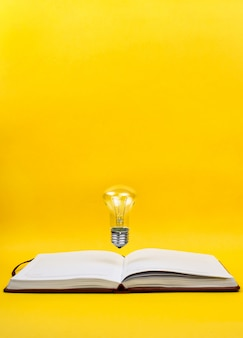 Light bulb levitating above the notebook as a concept of new idea, copyspace