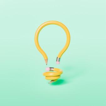 鉛筆で作られた電球 Premium写真