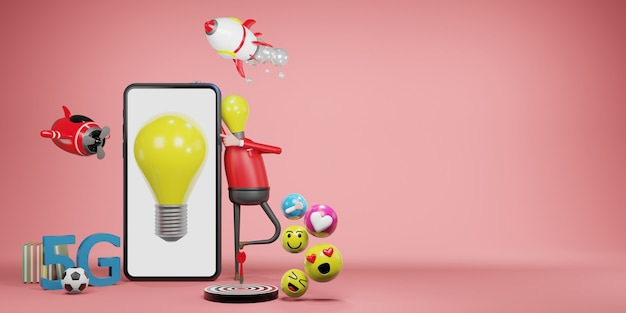 電球の男。創造的なアイデアとイノベーションの概念、3dイラスト