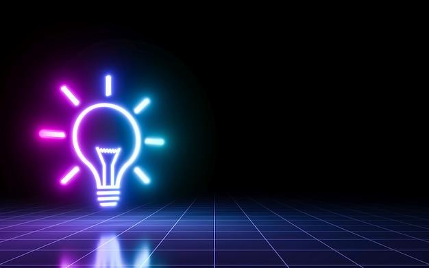 원근감 격자가 있는 전구 네온 사인입니다. 아이디어 컨셉 디자인입니다. 3d 렌더링