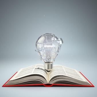 펼친 책 아이디어 또는 창의성 개념 교육 3d에 전구