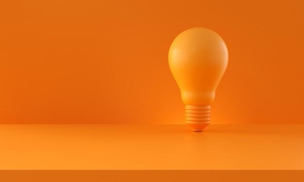 オレンジ色の背景に電球。コピースペースのある水平構成。創造性と革新のアイデアの概念。 3dレンダリング