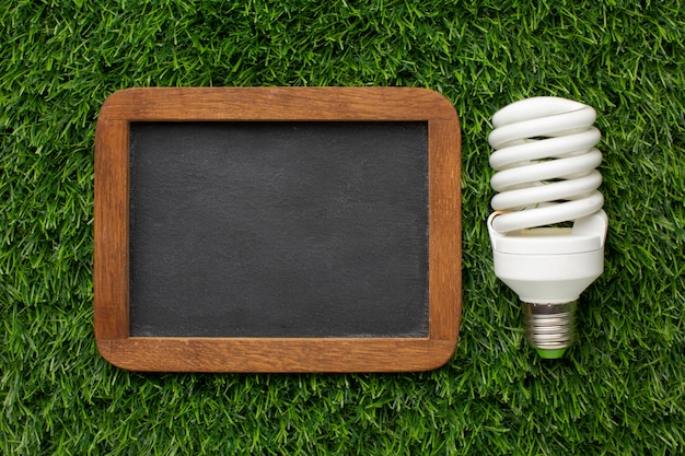 Light bulb with chalkboard