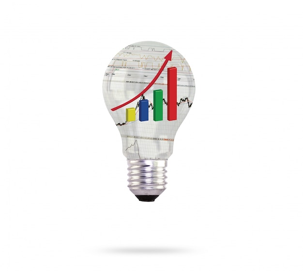 Light bulb with colorful graphic inside