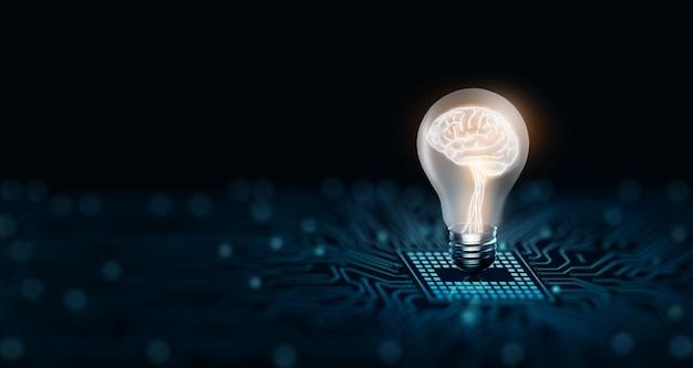創造性と革新のインスピレーションの中に人間の脳を備えた電球