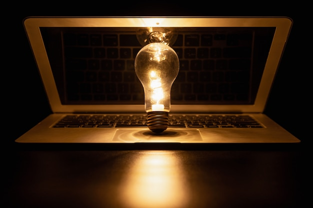 Light bulb with laptop