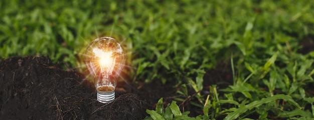 토양 지상에 빛 플레어와 전구입니다. 에코 혁신 환경 및 창의적인 개념. 공간 배너를 복사합니다.