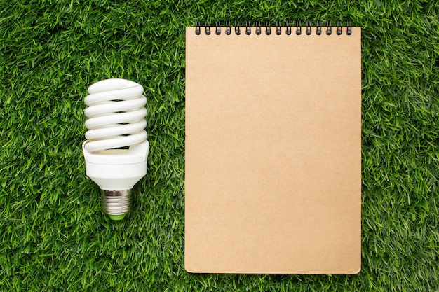 Light bulb with notebook
