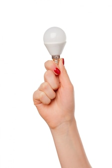 Light bulb in woman hand on white
