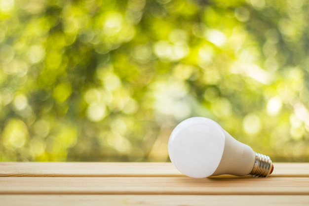 Light bulb on wooden table against blurred natural green background