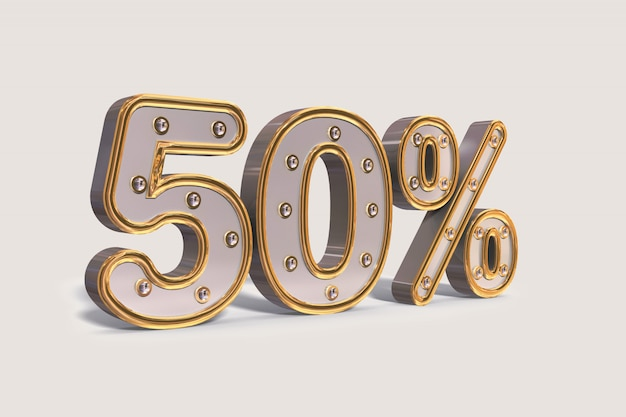 Light bulbs 50% discount, golden promotion sale percent made of realistic 3d.