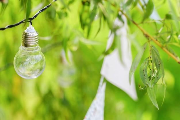 電球とガーランドが枝にぶら下がっています
