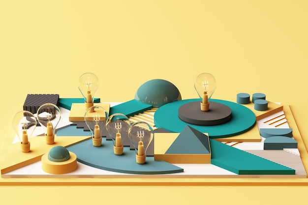 電球は、緑と黄色のトーンで幾何学的形状のプラットフォームの抽象的な構成を概念化します。 3dレンダリング