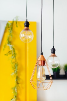 Light bulbs of different sizes in the bright room