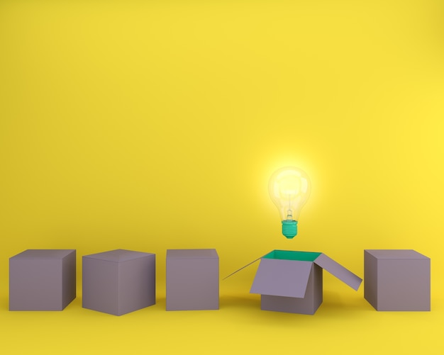Light bulbs glowing creative idea think outside the box. minimal concept idea.