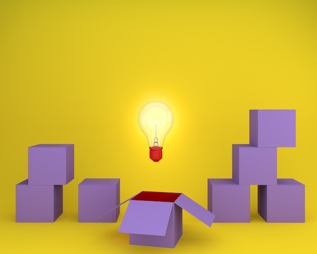 Light bulbs glowing creative idea think outside the box on yellow background
