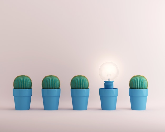 Light bulbs glowing one different idea cactus in blue flower pot on white background