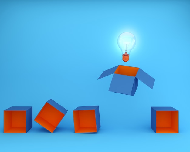 Light bulbs glowing think outside the box on blue background