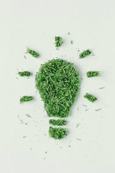 Light bulbs grass and green leaves. the concept of ecology is renewable energy. green energy