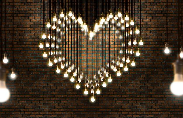 Light bulbs heart, loft style, valentine and love concept.
