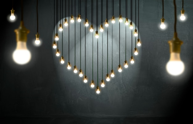 Light bulbs heart, loft style, valentine and love concept.