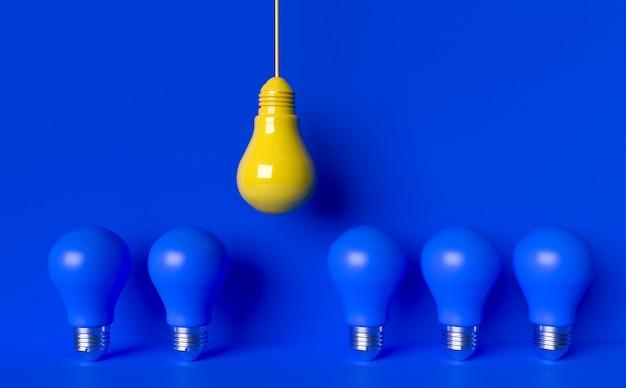 Light bulbs idea  . 3d render illustration