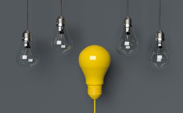 Light bulbs idea concept. 3d render illustration