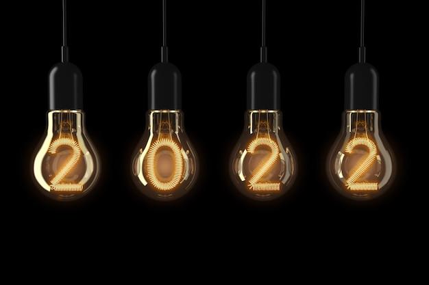 Лампочки горит 2022 новый год на черном фоне. 3d-рендеринг.