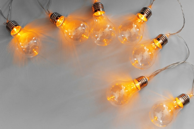 Light bulbs illuminated garland
