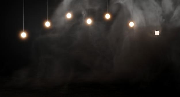暗い煙の背景に電球。 3dレンダリング。